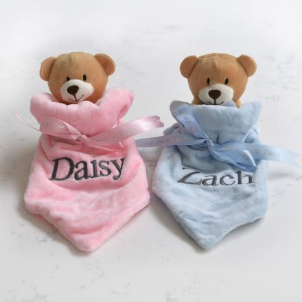 Personalised Two Teddy Comforters Gift Set